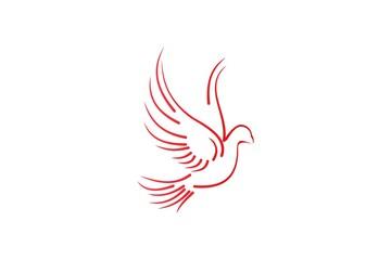 flying pigeon, mono line wedding logo Designs Inspiration Isolated on White Background