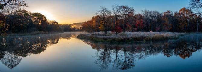 Autumn landscape of early foggy morning in the far east of Russia.