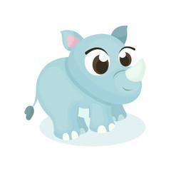 Illustration of Cute Rhinoceros with Cartoon Style