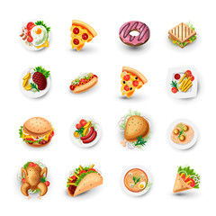 Set of Fast Food Icons. Junk Food Vector Illustration - Pizza, Donut, Burger, Taco, Chicken and other Fast Food Objects. Cartoon Style Objects of Junk Food, Colorful Appetizing Set for Street Lunch.