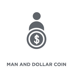 Man and dollar coin icon from Productivity collection.