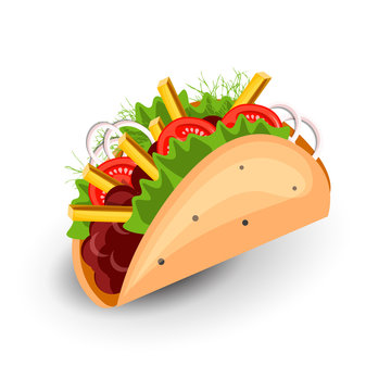 Tortilla Burritos wrap vector cartoon illustration. Mexican burritos with french fries and vegetables Icon. Mexican Wraps Burrito, Wrapped tortilla and burrito with vegetables isolated on white