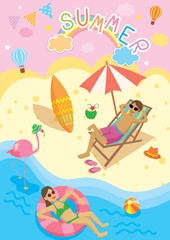 Illustration vector of summer design with beach activities on cute background.