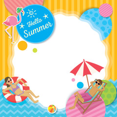 Vector of summer template decorated with beach acitvities and flamingo