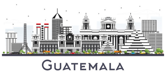 Guatemala City Skyline with Gray Buildings Isolated on White.