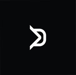 letter D DD minimalist art monogram arrow shape logo, white color on black background