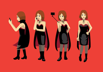 Manga Woman Vampire Modern Poses Costume Cute Vector