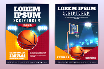 Basketball tournament promo vertical vector poster or brochure with basketball ball and hoop on court lighted by stadium spotlight cartoon illustration. Weekend evening game on sport arena ad flyer