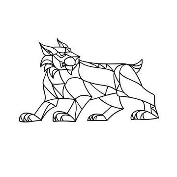 Lynx Prowling Black and White Mosaic