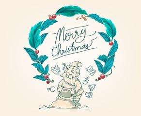 santa and flower frame,Merry Christmas frame,doodle santa and gift