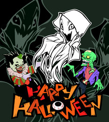 Cartoon halloween illustration of a funny monster ghost. Bogy with sharp claws. Hand drawn mascot isolated