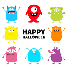Happy Halloween. Cute monster icon set. Cartoon colorful scary funny character. Eyes, tongue, hands up. Funny baby collection. White background Isolated. Flat design.