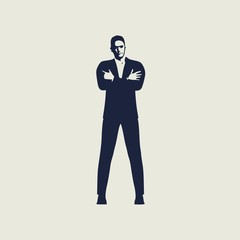 Silhouette of businessman in prayer pose. Web icon