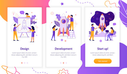 The development team is working on the project. Creation of a rocket. Onboarding screens template for mobile applications and websites. Flat vector illustration.