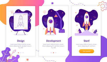 Project development. Building rocket from design to launch. Onboarding screens template. Mobile app design. Business concept. Flat vector illustration.