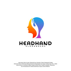 Head care logo vector, Head intelligence logo designs concept vector