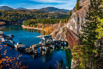 Box Canyon Dam on the Pend Oreille River Near Ione, Washington.