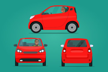 Red сompact city car set. Car with afro american man side view and front view. Vector flat style illustration