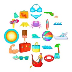 Beach icons set. Cartoon set of 25 beach vector icons for web isolated on white background