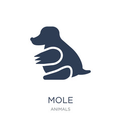Mole icon. Trendy flat vector Mole icon on white background from animals collection