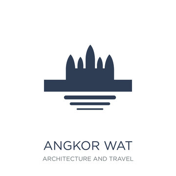 Angkor wat icon. Trendy flat vector Angkor wat icon on white background from Architecture and Travel collection