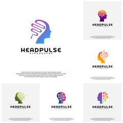 Collection Head Pulse logo vector, Head intelligence logo designs concept vector