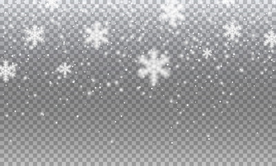 Snow. Vector transparent realistic snow background. Christmas and New Year decoration.