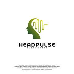 Head Pulse logo vector, Head intelligence logo designs concept vector