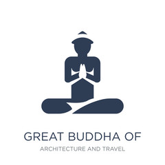 Great buddha of thailand icon. Trendy flat vector Great buddha of thailand icon on white background from Architecture and Travel collection