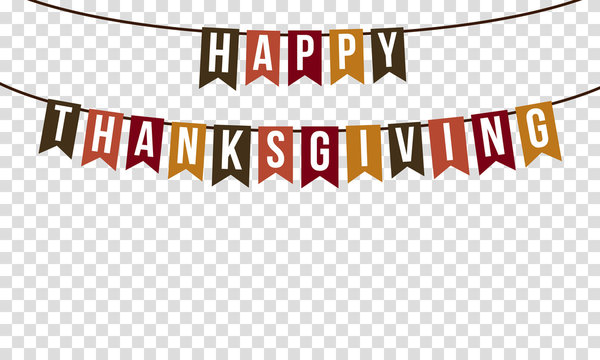 happy thanksgiving, garland with transparency background