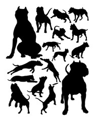 Pitbull dog animal silhouette. Good use for symbol, logo, web icon, mascot, sign, or any design you want.
