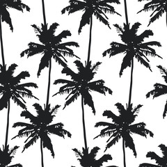 Palm trees seamless pattern on white background. Print for fabric, wallpaper or giftwrap. Vector illustration