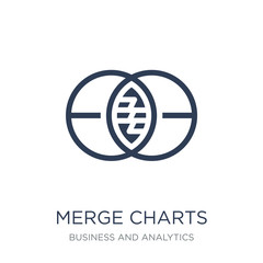 Merge charts icon. Trendy flat vector Merge charts icon on white background from Business and analytics collection