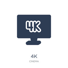 4k icon. Trendy flat vector 4k icon on white background from Cinema collection