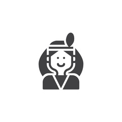 Native American man vector icon. filled flat sign for mobile concept and web design. simple solid icon. Symbol, logo illustration. Pixel perfect vector graphics