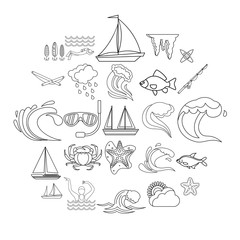 Overwater icons set. Outline set of 25 overwater vector icons for web isolated on white background