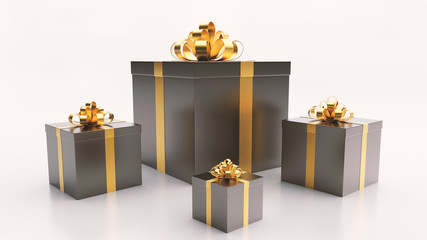 black gift boxs with golden ribbon bow on the light background
