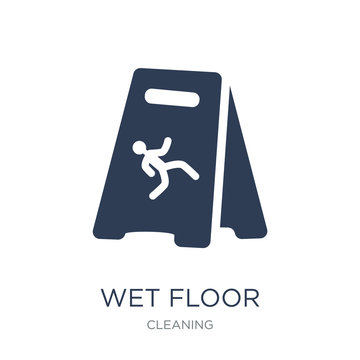 Wet floor icon. Trendy flat vector Wet floor icon on white background from Cleaning collection