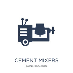 cement mixers icon. Trendy flat vector cement mixers icon on white background from Construction collection