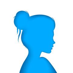 Nice girl - blue paper illustration. Vector eps 10