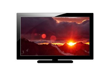 Modern blank flat screen plazma TV set. Isolated on white background. screen with Image of mountains.
