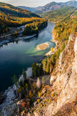 Pend Oreille River at Boundary Dam in Northeastern Washington State. USA.