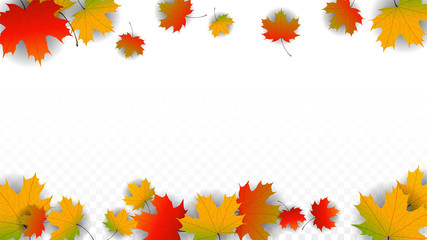 September Vector Background with Golden Falling Leaves. Autumn Illustration with Maple Red, Orange, Yellow Foliage. Isolated Leaf on Transparent Background. Bright Swirl. Suitable for Posters.