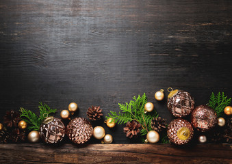Christmas or New Year moody rustic background