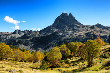 view of Pic Du Midi Ossau in autumn, France, Pyrenees