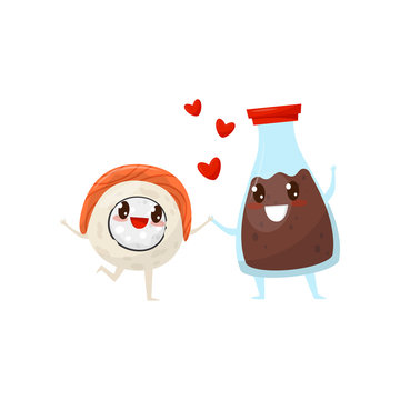 Sushi roll and soy sauce bottle are friends forever, cute funny food cartoon characters vector Illustration on a white background