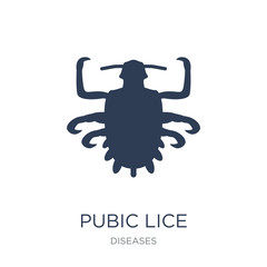 Pubic lice icon. Trendy flat vector Pubic lice icon on white background from Diseases collection