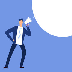 Businessman with megaphone. Man shouting in bullhorn with speech bubble for message. Vector illustration
