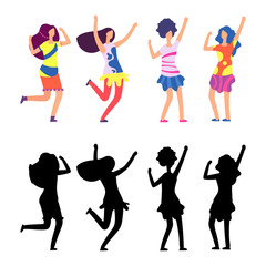 Happy women in bright clothes. Parade or hippie female cartoon character. Vector illustration