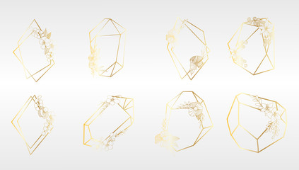 Set of Luxury Golden Crystal Shapes in a vector style isolated. Isolated illustration element. Vector flower for background, texture, wrapper pattern, frame or border.